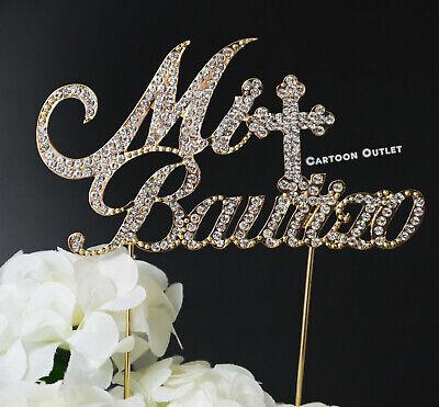 MI BAUTIZO ELEGANT RHINESTONE CAKE TOPPER LARGE METAL BAPTISM CROSS BLING GOLD (Elegant Cake Toppers)