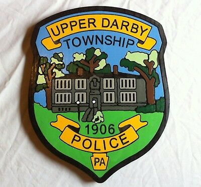Police Upper Darby PA 3D routed carved wood custom Patch plaque Sign Custom