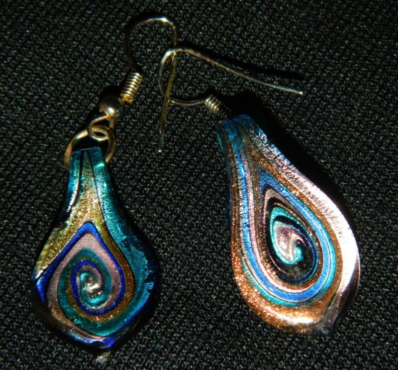 034#JQ--Earrings Wire Pierced Vintage Carnival Glass Tear Drop