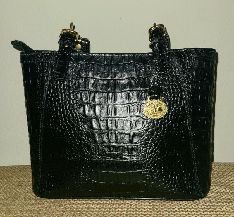 👜 BRAHMIN Melbourne Croc Embossed Black Leather Shoulder Handbag
