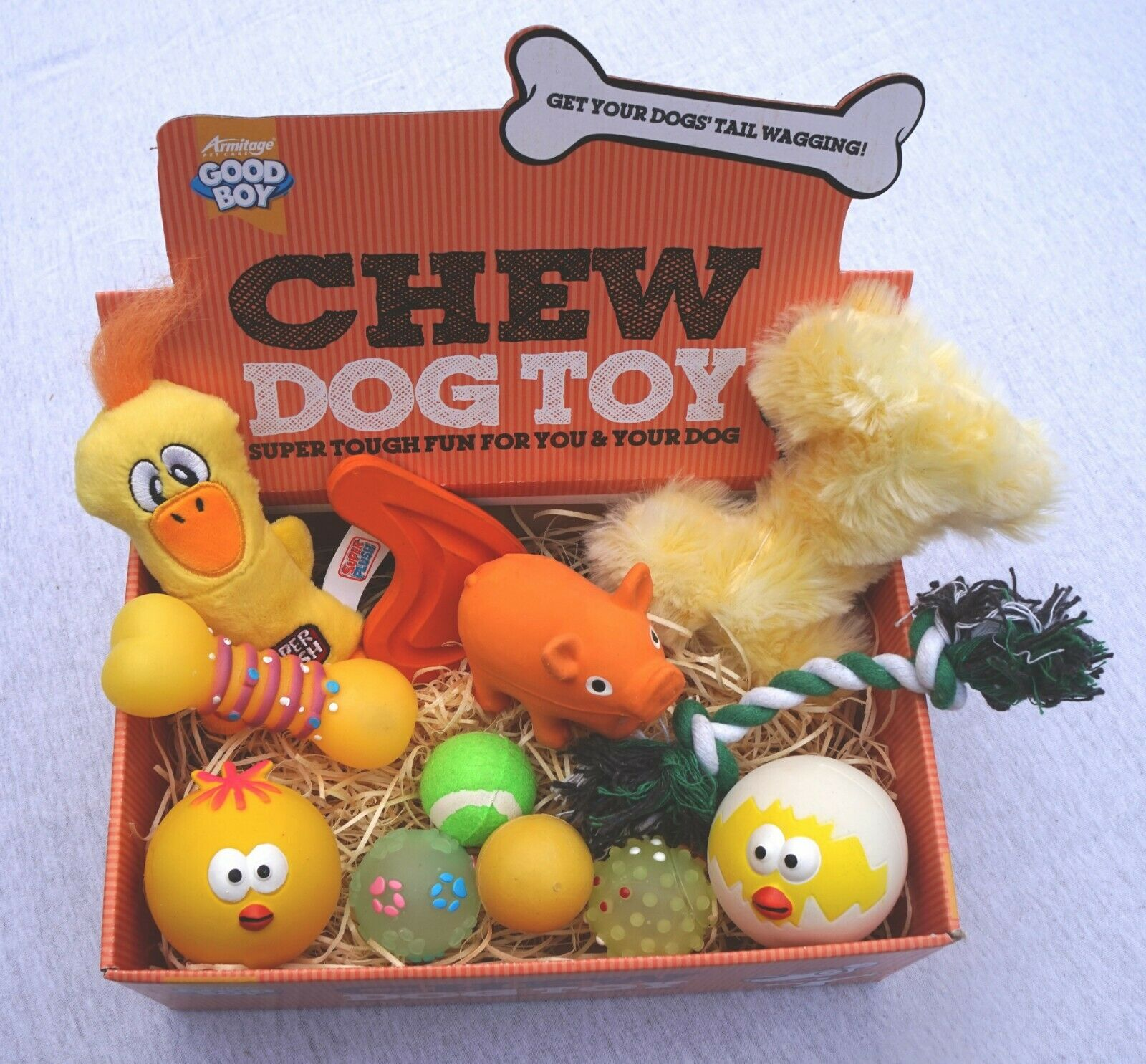 12 TOYS EASTER DOG TOY BOX WITH A SELECTION OF TOYS FOR SMAL