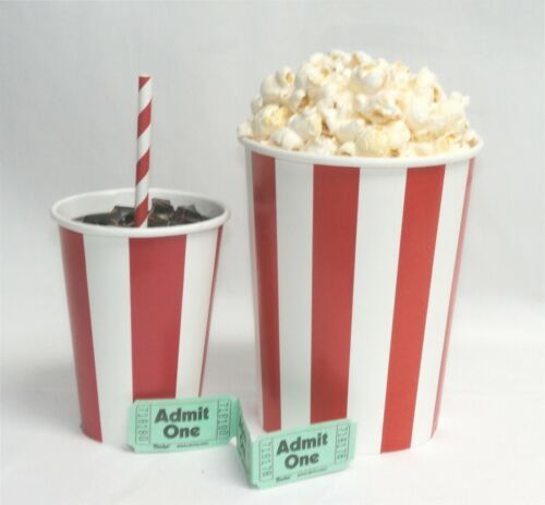 Fake Food RED & WHITE POPCORN CONTAINER W/ SODA
