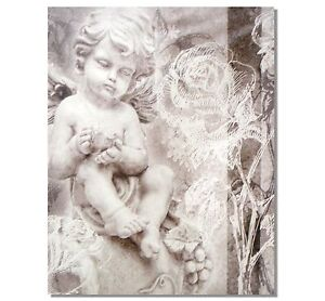 Cherub Angel Garden Canvas Print Wall Art Ornament Statue with Bird *50cm*