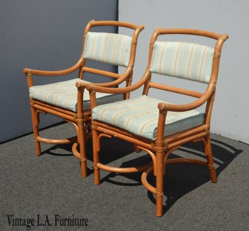 Pair Vintage Mid Century Modern Bamboo Accent Chairs Leather Straps Italy