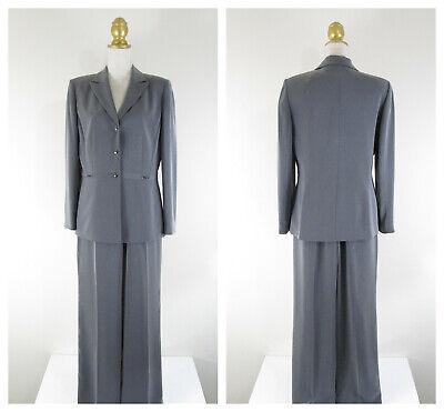 Tahari Silver Gray Metallic Snap Front Pant Suit Size 10 Formal Business Career