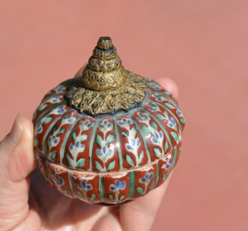 19C Chinese Export Thai Famille Rose Benjarong Bencharong Porcelain Box - AS IS