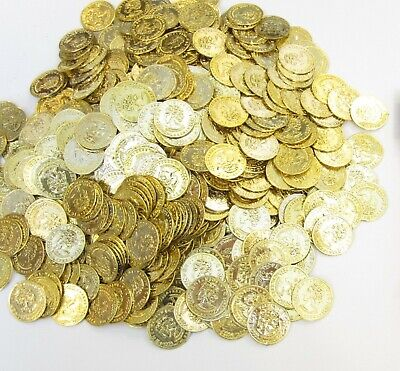 2000 PLASTIC TOY GOLD COINS PIRATES TREASURE PLAY MONEY BIRTHDAY PARTY FAVORS - 2000 Gold Coins