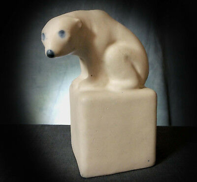 RARE DOULTON MINIATURE CARRARA FIGURE of A POLAR BEAR on an ICE PLINTH