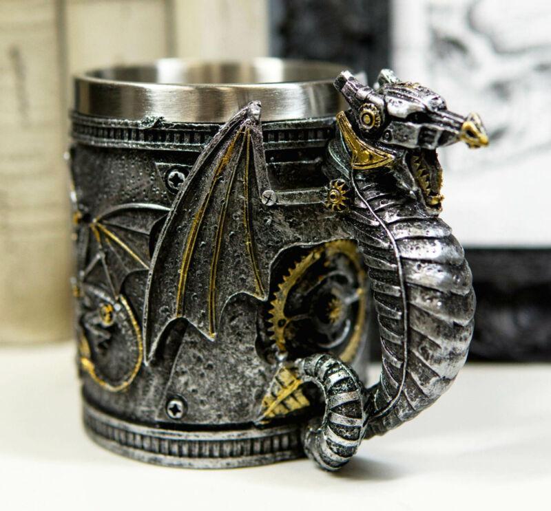 Silver Surfer Steampunk Cyborg Robotic Dragon Beer Stein Tankard Coffee Cup Mug