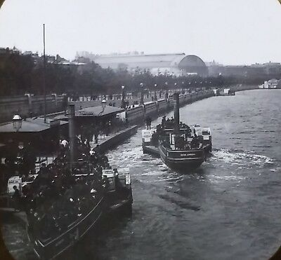 Steam boat on Thames River Embankment,England, Vintage Magic Lantern Glass Slide