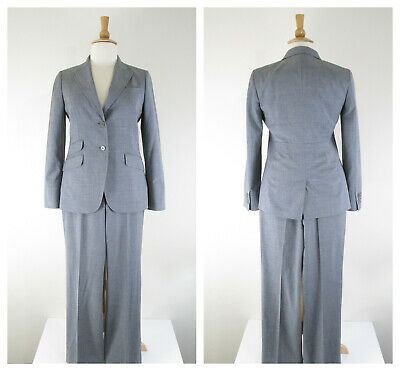 Talbots Womens Solid Gray Heritage Pant Suit Size 12 10 Formal Business Career