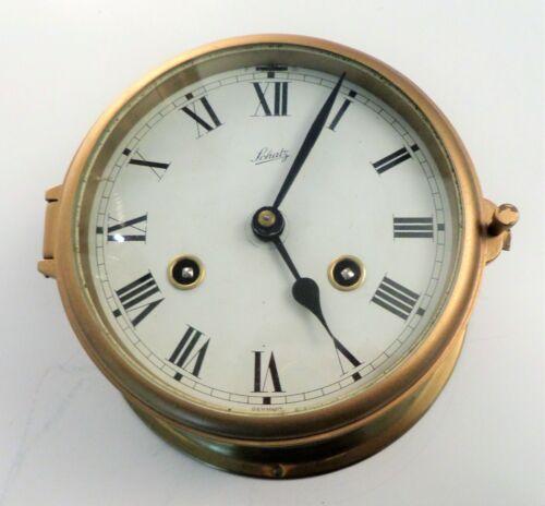 "Vintage German Schatz Brass Cased Maritime Nautical Clock w/ Ships Bell 7"""