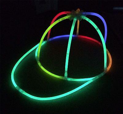6x Glow in the Dark Cap - Glowing Hats - Glow Sticks, Parties, Festivals ()