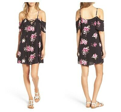 P FLORAL PRINTED COLD SHOLDER DRESS   Sz M   NEW  NORDSTROM (Chica Dress Up)