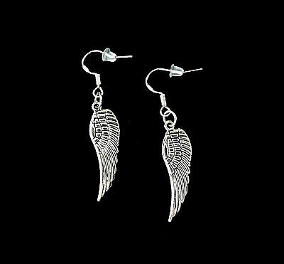 SILVER ANGEL WINGS DANGLE FEATHER CHARM EARRINGS~CHRISTMAS EASTER GIFT FOR HER - Easter Jewelry