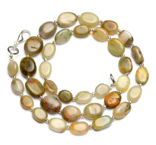 """Natural Gem Chrysoberyl Cats Eye 10x8 to 14x10mm Smooth Nugget Beads Necklace20"""""""