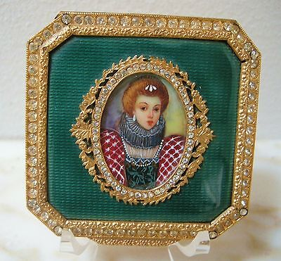 VINTAGE ITALIAN GUILLOCHE Emerald Green ENAMEL Hand Painted Lady JEWELED COMPACT