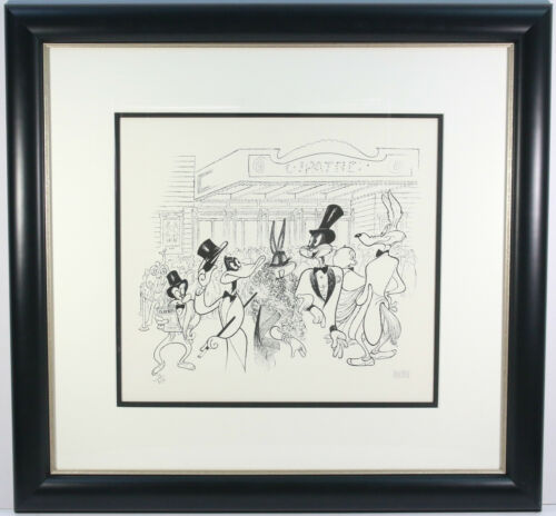 "AL HIRSHFELD SIGNED ""OPENING NIGHT"" WARNER BROS EXCLUSIVE LOONEY TUNES LITHO COA"