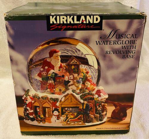 Kirkland Santa Christmas Holiday Castle Rotating Musical Snow Globe LARGE!!