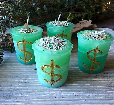 MONEY DRAW Green Votive Candle  Wicca Witch Spell Hand Carved and Herb Infused