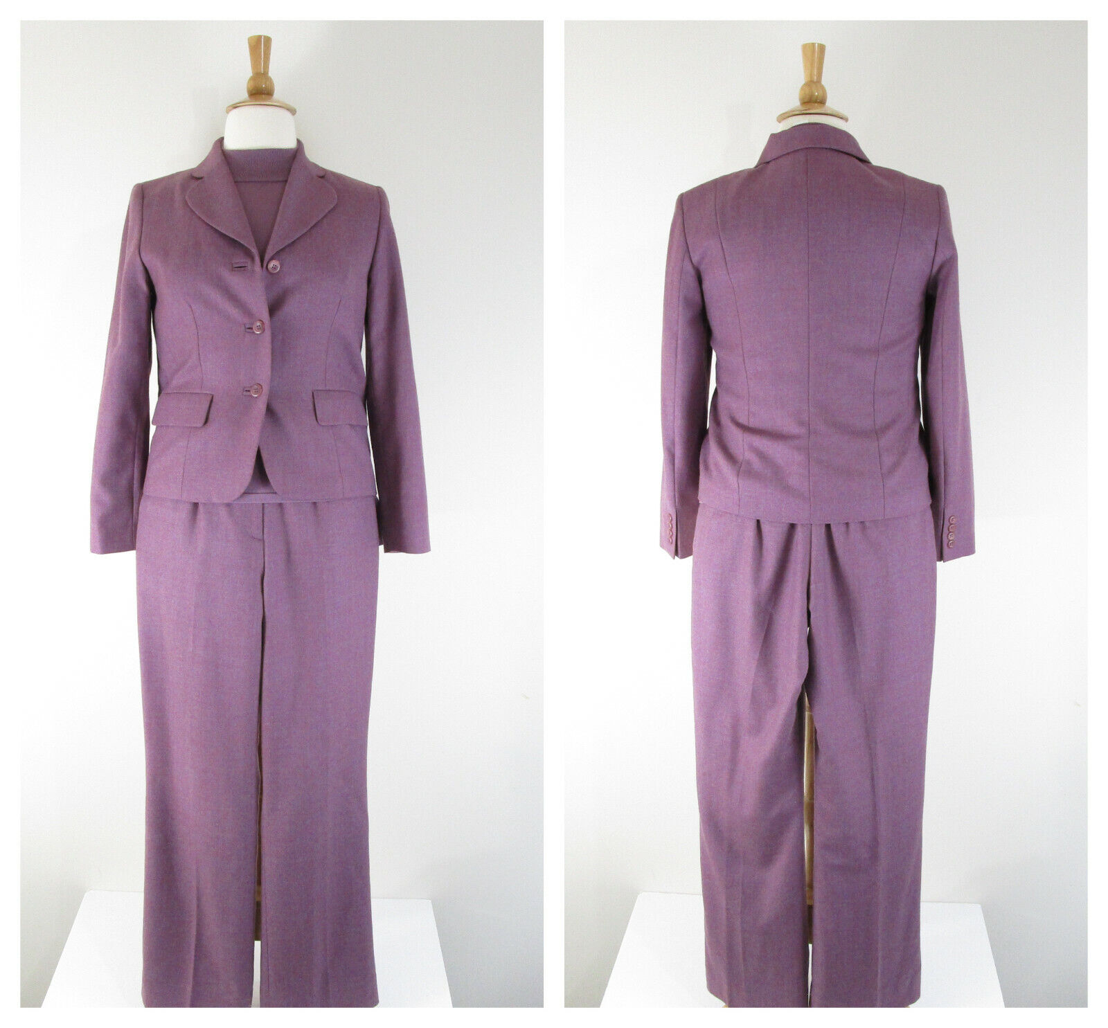 Pendleton Womens Purple Virgin Wool Mock Neck 3 Piece Pant Suit 12 M Career