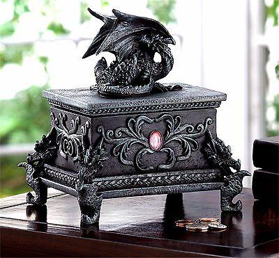 FEARSOME BLACK DRAGON TREASURE JEWELRY OR TRINKET BOX W/ STONE ** NIB