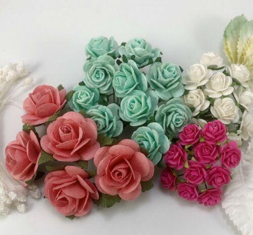 35 Mix 4sizes Paper Flower Leaves Stamen Wedding Craft Card Scrapbook TH/4K-123a
