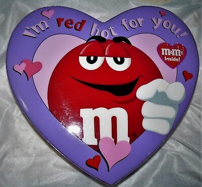 M&M'S PURPLE HEART SHAPE CONTAINER - I'M RED HOT FOR  YOU!  - GALERIE (2003) (Purple M&m)