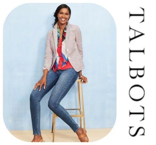 🆕TALBOTS Patchwork Stripe Blazer Jacket SZ 4 Seersucker Red White Blue Cotton