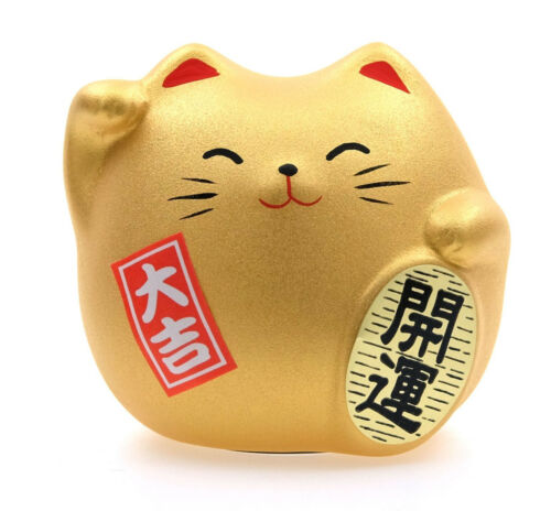"Japanese 2""H Gold Maneki Neko Lucky Cat Earthenware Rich & Fortune Made in Japan"