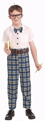 Boys NERD Costume Geek Dweeb Plaid High Pants Shirt Bowtie Funny Child Kids - Nerd Bow Ties