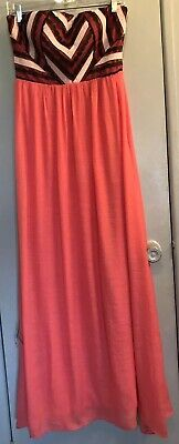 Love Point Womens Evening Dress Size L Strapless Elastic Back Melon Bodice Lined