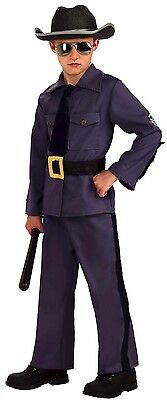 Boys State Trooper Costume Police Officer Outfit Hat Halloween Kids Child Large