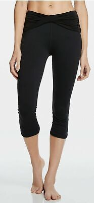 Fabletics Women's Leggings Black Kastos Capri Twist Waist Band Ruched Leg XS (4)