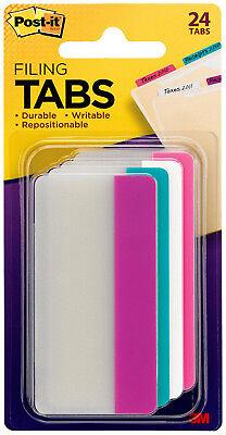 3m Post-it Tabs 3 X 1.5 4 Pastel Colors Durable Writable Repositionable 24pc