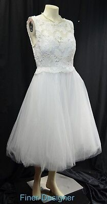 White Lace Gown Set - ModCloth Ready Set Romance White Bridal Wedding Dress lace knee gown tulle M NEW