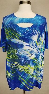 CATHERINES BLUE FLORAL PRINT EMBELLISHED SHORT SLEEVE KNIT TOP PLUS Sz 5X 34/36W