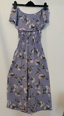 Lilac Floral Primark Bardot Jumpsuit Size 10