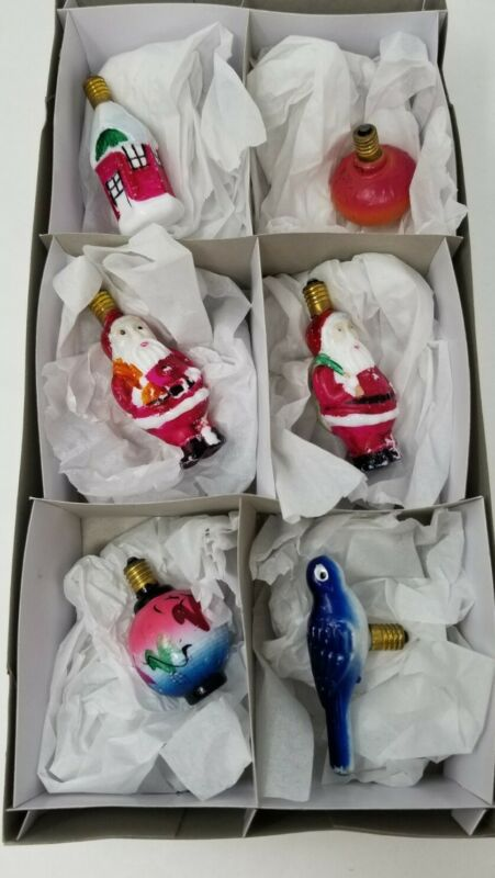 LOT Of 6 Vintage Milk Glass C6 Figural Christmas Bulbs - Nonworking