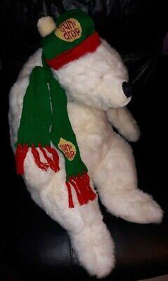 "Vintage SunDrop Polar Bear in Winter Hat/Scarf Plush Promo VERY RARE 36"" HTF"