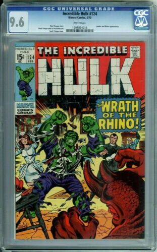 INCREDIBLE HULK 124 CGC 9.6 WHITE PAGES RARE in HIGH GRADE RHINO app Marvel 1970