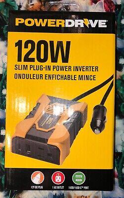 PowerDrive 120 Watt Slim Plug-In Inverter, 1 AC and 1 USB, 1 USB-C Port PD120 Ac 120 Watt Usb Inverter