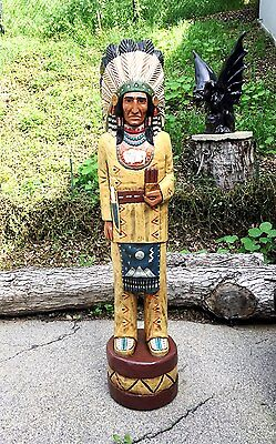 John Gallagher Carved Wooden Cigar Store Indian 6 Ft In Beautiful Fine Details