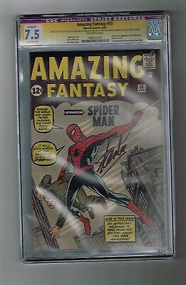 AMAZING FANTASY #15 CGC Grade 7.5! Major Key: 1st SPIDER-MAN! SIGNED by STAN LEE