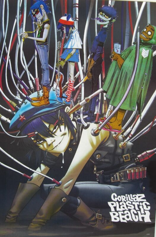 """GORILLAZ """"PLASTIC BEACH - GROUP ALL PLUGGED IN"""" POSTER FROM ASIA - Damon Albarn"""