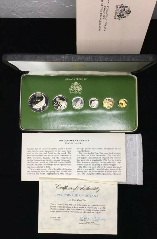 1980 GUYANA PROOF SET w BOX & COA - 6 COIN SET - LOW MINTAGE: 863