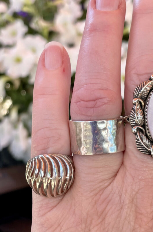 vintage textured sterling silver wide band