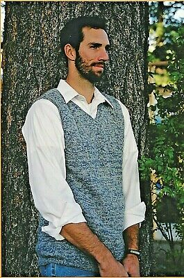 "Basic Vest For Men Knitting Pure & Simple Pattern #215 Sweater XS-2X 37""-54"""
