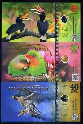 SET Atlantic Forest 38;39;40 Aves Dollars 2018 - Hornbill, Lovebirds, Falcon