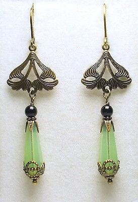 Art Nouveau Art Deco Vintage Style Czech Sea Green Opal Glass Earrings